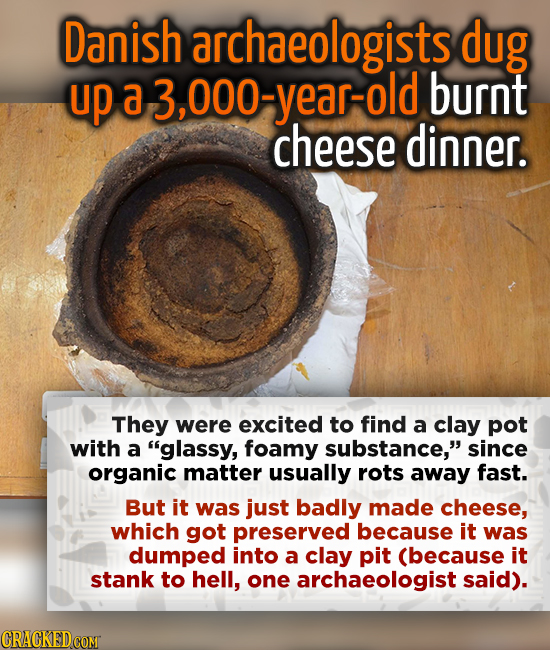 Danish archaeologists dug up a 3,000-year-old burnt cheese dinner. They were excited to find a clay pot with a glassy, foamy substance, since organi