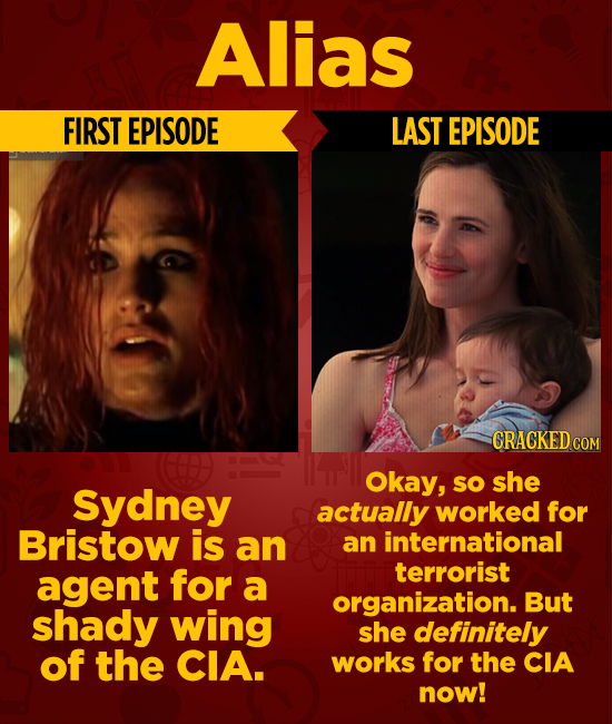 Alias FIRST EPISODE LAST EPISODE CRACKEDcO Okay, so she Sydney actually worked for Bristow is an an international agent for terrorist a organization.