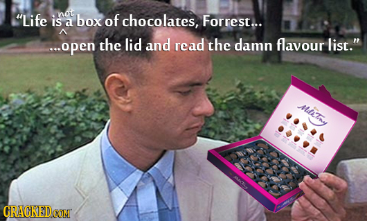 not Life is box of chocolates, a Forrest... e.open the lid and read the damn flavour list. MsTay MM