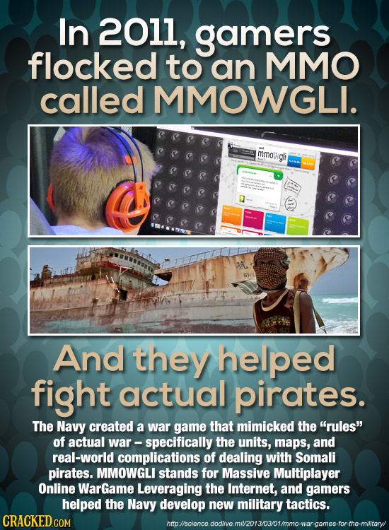 In 2011, gamers flocked to an MMO called MMOWGLI. mmot gli al And they helped fight actual pirates. The Navy created a war game that mimicked the rul