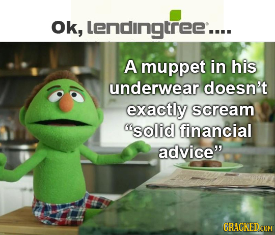 Ok, lendingtree.... A muppet in his underwear doesn't exactly scream solid financial advice