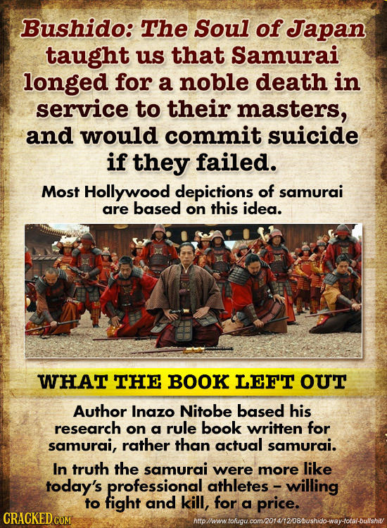 Bushido: The Soul of Japan taught us that Samurai longed for a noble death in service to their masters, and would commit suicide if they failed. Most