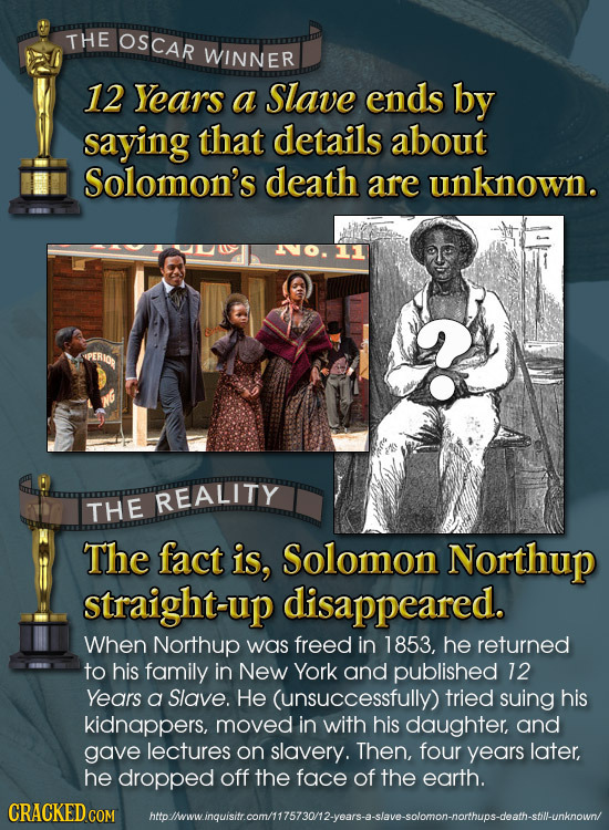 THE OSCAR WINNER 12 Years a Slave ends by saying that details about Solomon's death are unknown. REALITY THE The fact is, Solomon Northup straight-up