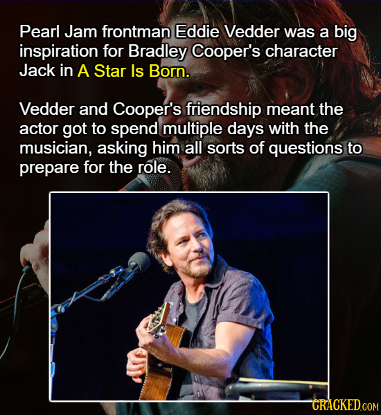 Pearl Jam frontman Eddie Vedder was a big inspiration for Bradley Cooper's character Jack in A Star Is Born. Vedder and Cooper's friendship meant the