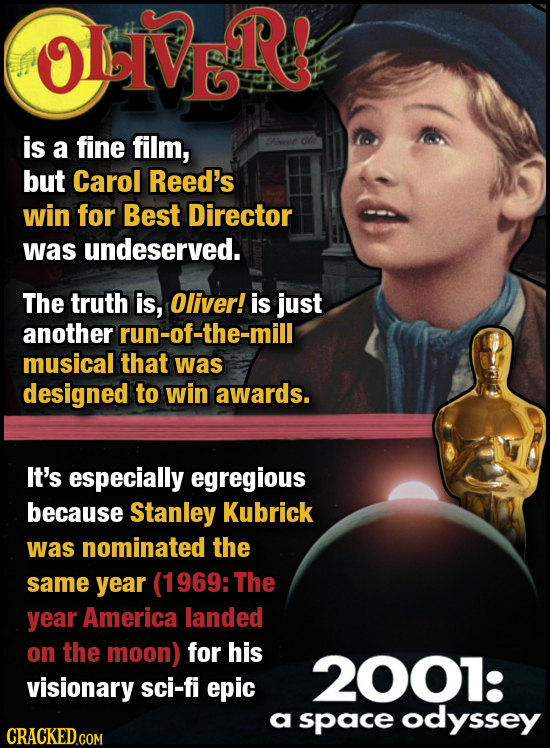 OLbIVE R is a fine film, Fwt but Carol Reed's win for Best Director was undeserved. The truth is, Oliver! is just another run-of-the-mill musical that
