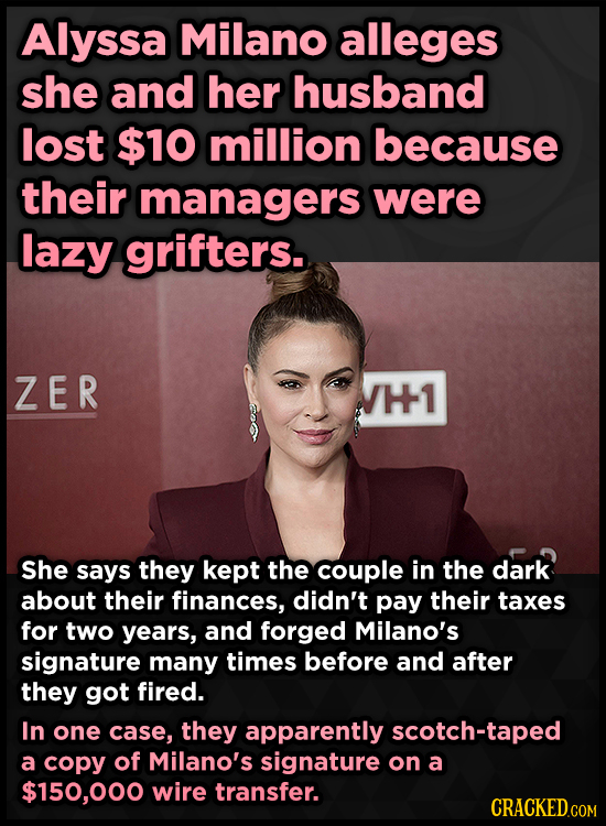 Alyssa Milano alleges she and her husband lost $10 million because their managers were lazy grifters. ZER H1 She says they kept the couple in the dark