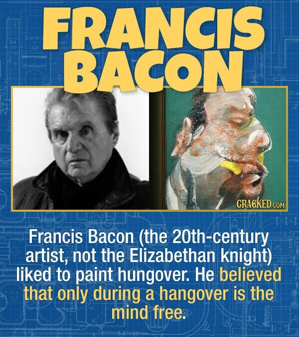 15 Bizarre Habits Of Incredibly Successful People - Francis Bacon (the 21st-century artist, not the Elizabethan knight) likes to paint hungover. He be