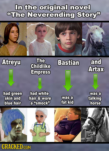 In the original novel The Neverending Story Atreyu The Bastian and Childlike Artax Empress had green had white was a skin and hair & wore was a talki