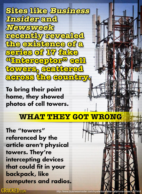 Sites like Business Insider and Newsweek recently revealed the existence of a series of 17 fake Interceptor cell towers, scattered across the countr
