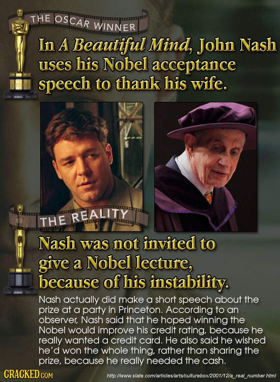 THE OSCAR WINNER In A Beautiful Mind, Jobn Nash uses his Nobel acceptance speech to thank his wife. REALITY THE Nash was not invited to give a Nobel l