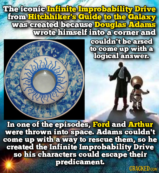 The iconic Infinite Improbability Drive from Hitchhiker's Guide to the Galaxy was created because Douglas Adams wrote himself into a corner and couldn