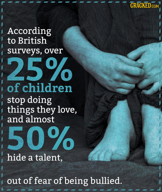 CRACKEDO COM According to British surveys, over 25% of children stop doing things they love, and almost 50% hide a talent, out of fear of being bullie