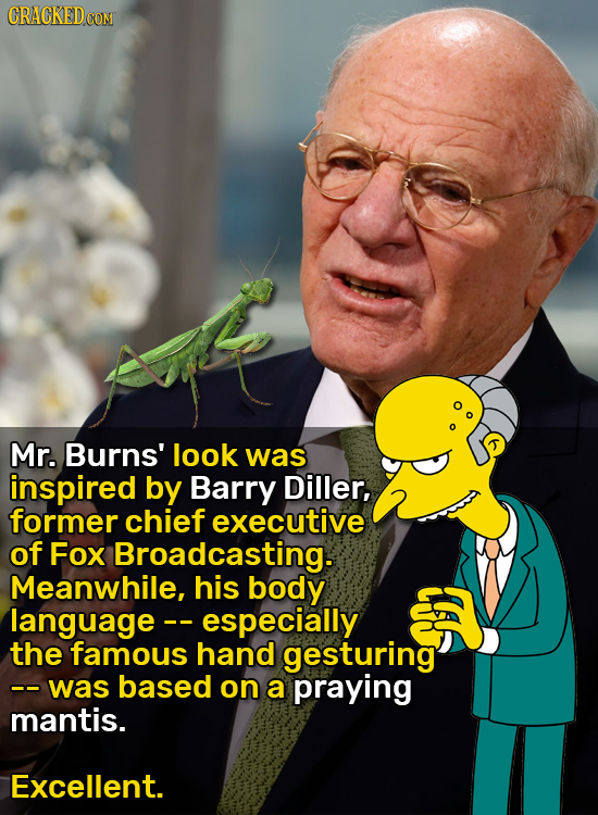 CRACKED CON Mr. Burns' look was inspired by Barry Diller, former chief executive of Fox Broadcasting. Meanwhile, his body language especially the famo