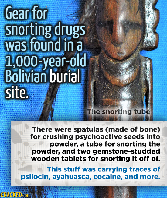 Gear for snorting drugs was found in a l,000- year-old 000 Bolivian burial site. The snorting tube There were spatulas (made of bone) for crushing psy