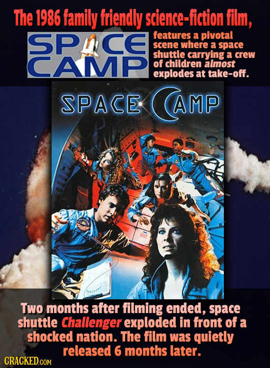 The 1986 family friendly science-fiction film, SPCE features a pivotal scene where a space shuttle CAMP carrying a crew of children almost explodes at
