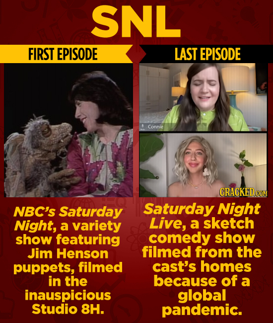 SNL FIRST EPISODE LAST EPISODE Connie CRACKED CON NBC's Saturday Saturday Night Night, variety Live, sketch a a show featuring comedy show Jim Henson