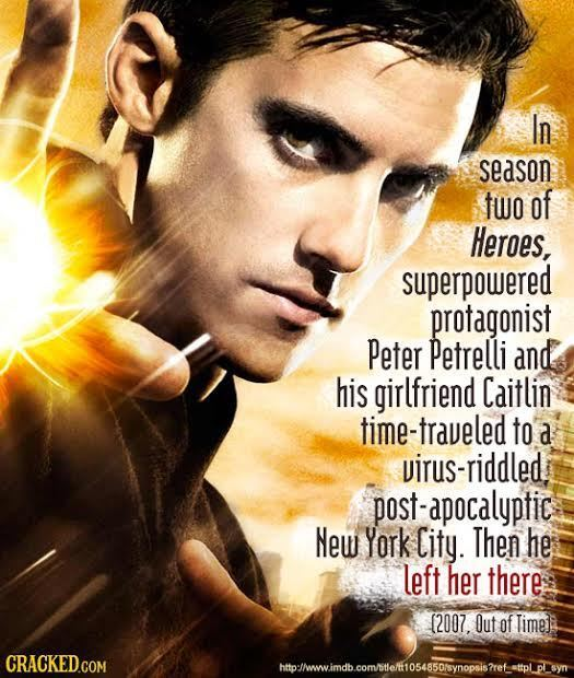 In season two of Heroes, superpowered protagonist Peter Petrelli and his girlfriend Caitlin time-traveled to a virus-riddled post-apocalyptic New York