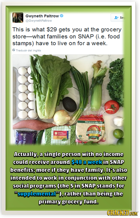 Gwyneth Paltrow Sed @GwynethPaltrow This is what $29 gets you at the grocery store-what families on SNAP (i.e. food stamps) have to live on for a week