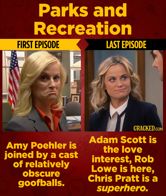 Parks and Recreation FIRST EPISODE LAST EPISODE CRACKEDG COM Adam Scott is Amy Poehler is the love joined by a cast interest, Rob of relatively Lowe i