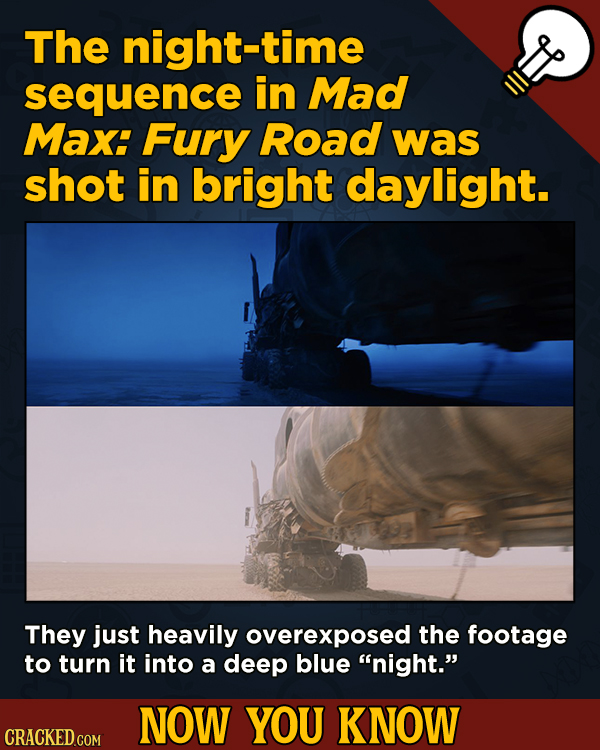 13 Cool Things You Didn't Know About Movies (And Other Stuff) - The night-time sequence in Mad Max: Fury Road was shot in bright daylight.