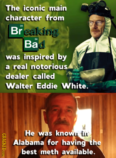 The iconic Main character from Br 35 eaking Bad 56 was inspired by a real notorious dealer called Walter Eddie White. He CRAOT was knowi ii Alabama fo