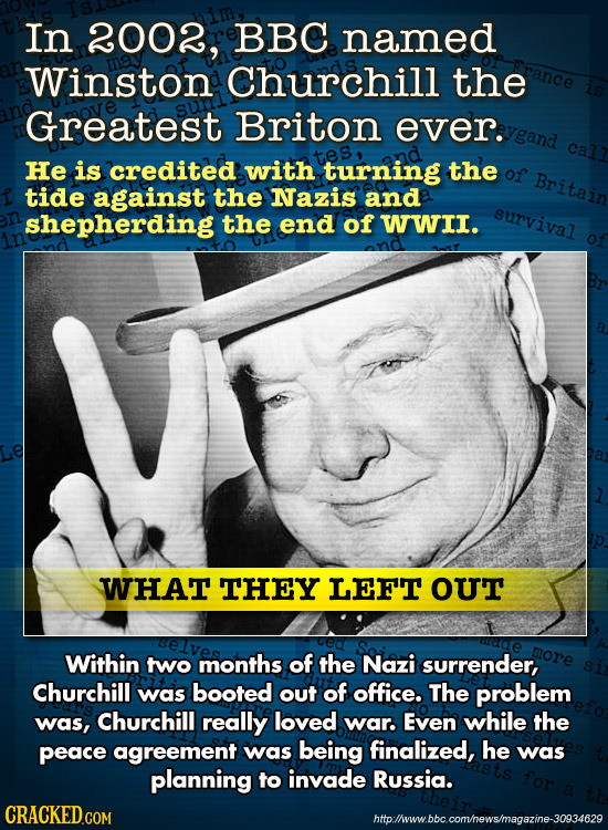 In 2002, BBC named Winston Churchill the Greatest Briton ever. ygand He is credited with turning the of Britain tide against the Nazis and shepherding