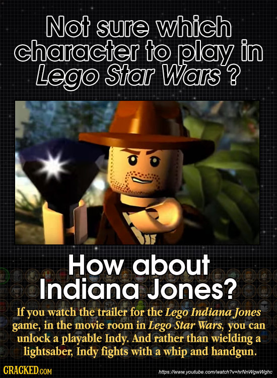 Not sure which character to play in Lego Star Wars ? How about Indiana Jones? If you watch the trailer for the Lego Indiana Jones game, in the movie r