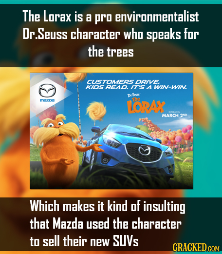 The Lorax is a pro environmentalist Dr.Seuss character who speaks for the trees CUSTOMERS DRIVE KIDSREAD. IT'S A WIN-WIN Dr.Sess z LORAX The MARCH 2ND