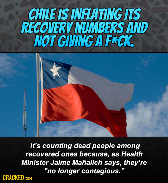CHILE IS INFLATING ITS RECOVERY NUMBERS AND NOT GIVING A F*CK. It's counting dead people among recovered ones because, as Health Minister Jaime Manali