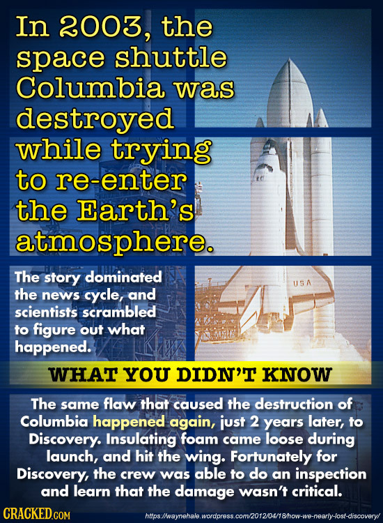 In 2003, the space shuttle Columbia was destroyed while trying to re-enter the Earth's atmosphere. The story dominated USA the news cycle, and scienti