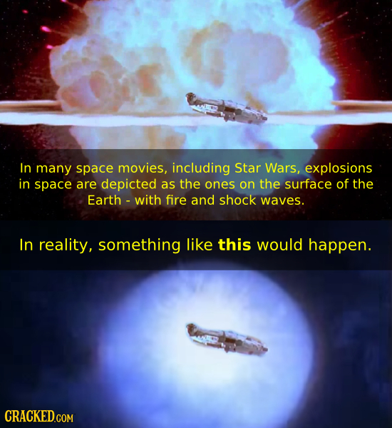 In many space movies, including Star Wars, explosions in space are depicted as the ones on the surface of the Earth with fire and shock waves. In real