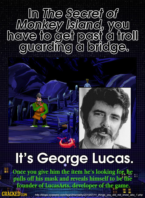 In ThE Secret of Monkey Island, you have to get past o troll guarding o bridge. It's George Lucas. Once you give him the item he's looking for, he pul