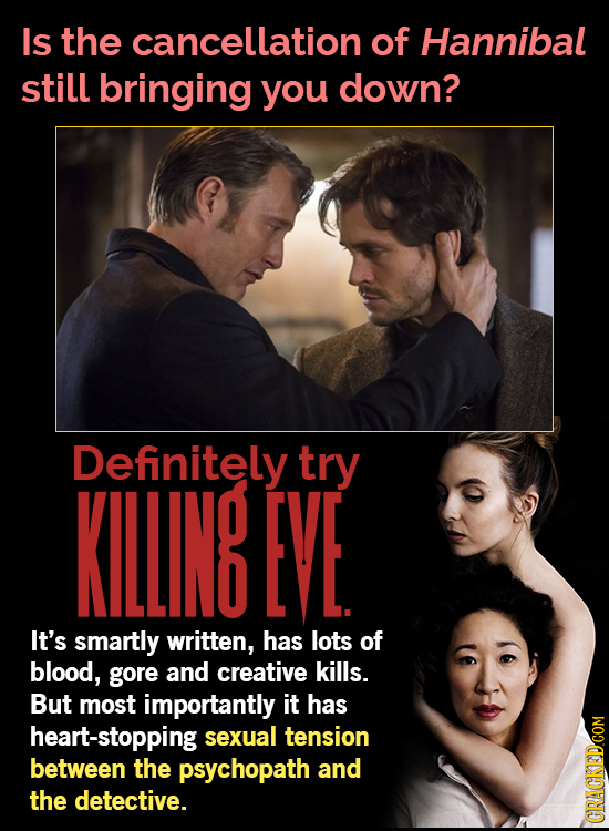 Is the cancellation of Hannibal still bringing you down? Definitely try KILING EVE It's smartly written, has lots of blood, gore and creative kills. B