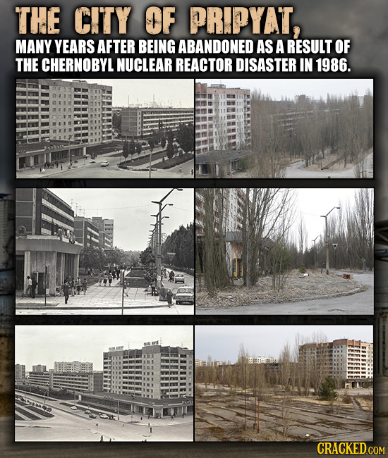 THE CITY OF PRIPYAT, MANY YEARS AFTER BEING ABANDONED AS A RESULT OF THE CHERNOBYL NUCLEAR REACTOR DISASTER IN 1986.