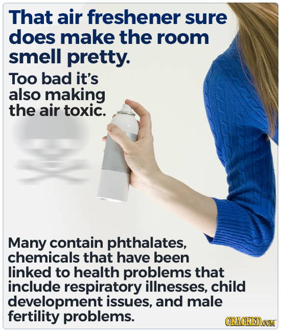 That air freshener sure does make the room smell pretty. Too bad it's also making the air toxic. Many contain phthalates, chemicals that have been lin
