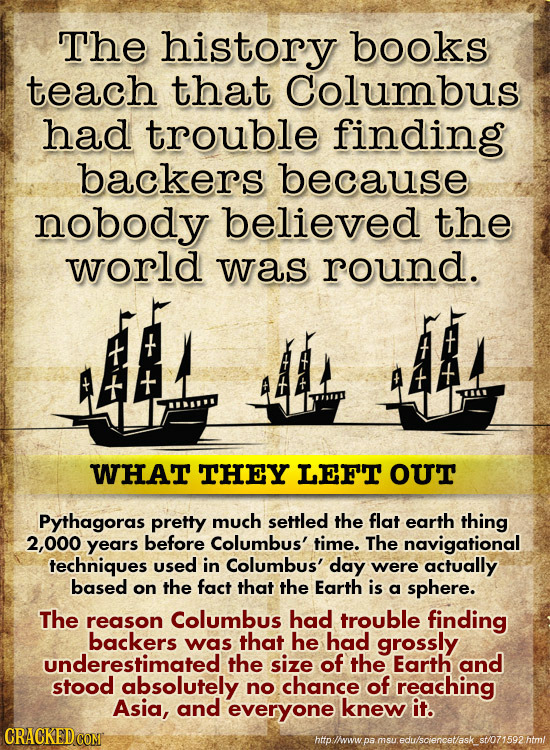 The history books teach that Columbus had trouble finding backers because nobody believed the world was round. WHAT THEY LEFT our Pythagoras pretty mu