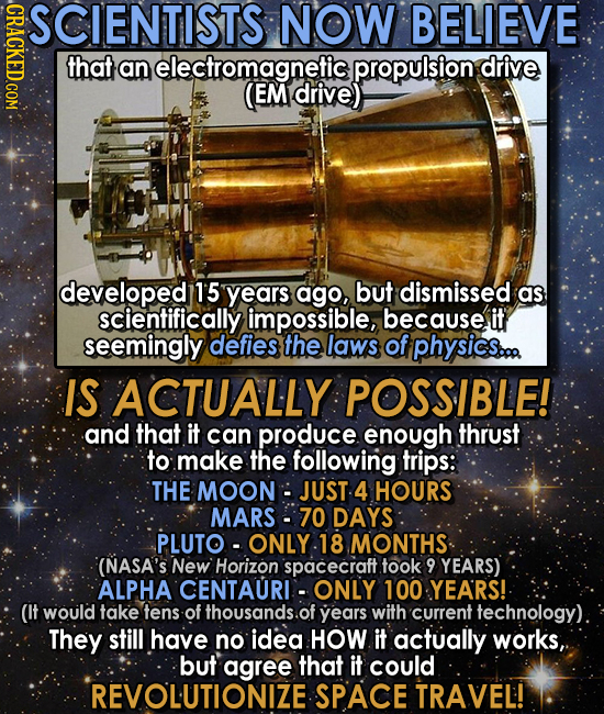 CRAC SCIENTISTS NOW BELIEVE that an electromagnetic propulsion drive (EM drive) developed 1'5 years ago, but dismissed as scientifically impossible,,