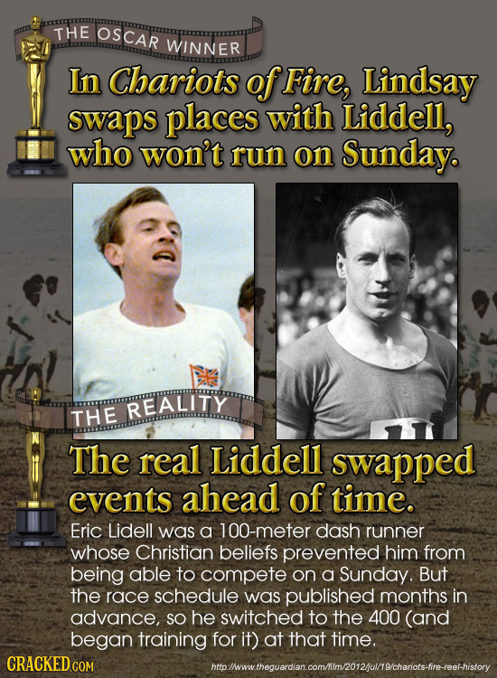 THE OSCAR WINNER In Chariots of Fire, Lindsay swaps places with Liddell, who won't run on Sunday. REALITY THE The reall Liddell swapped events ahead o