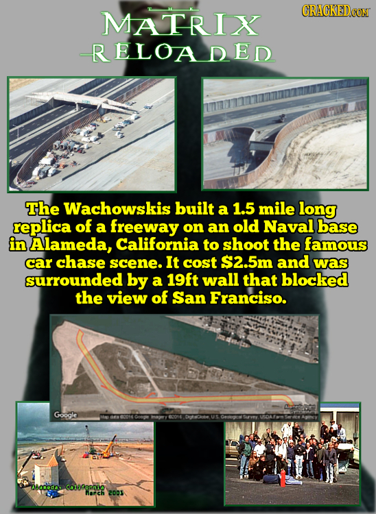 MATRIX CRACKEDCOR RELOADED The Wachowskis built a 1.5 mile long replica of a freeway on an old Naval base in Alameda, California to shoot the famous c