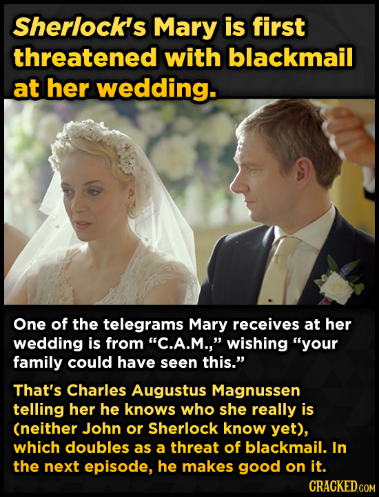 Sherlock's Mary is first threatened with blackmail at her wedding. One of the telegrams Mary receives at her wedding is from C.A.M., wishing your f