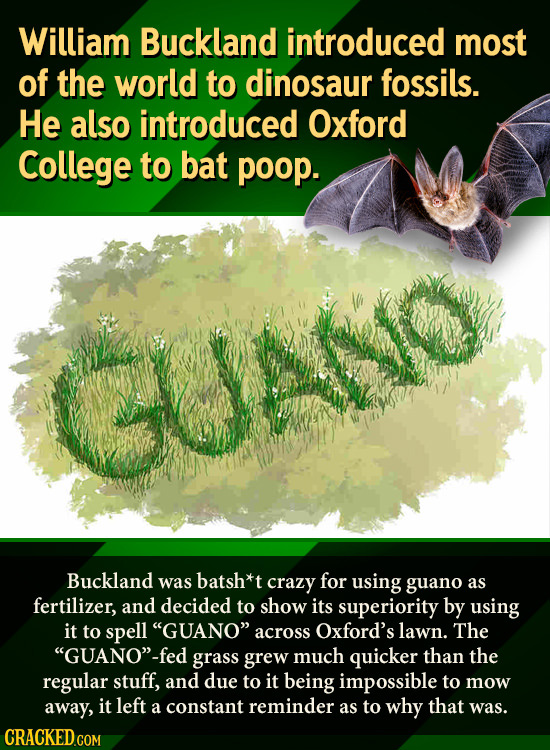 William Buckland introduced most of the world to dinosaur fossils. He also introduced Oxford College to bat poop. Buckland was batsh*t crazy for using