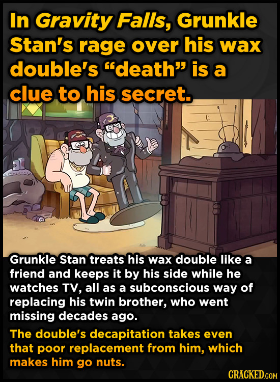 In Gravity Falls, Grunkle Stan's rage over his wax double's death is a clue to his secret.. Grunkle Stan treats his wax double like a friend and kee