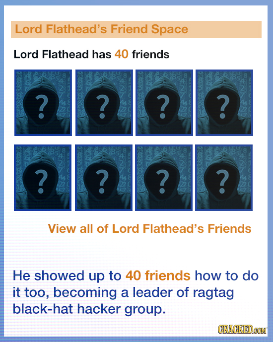 Lord Flathead's Friend Space Lord Flathead has 40 friends ? ? ? ? OEE ? ? ? ? View all of Lord Flathead's Friends He showed up to 40 friends how to do