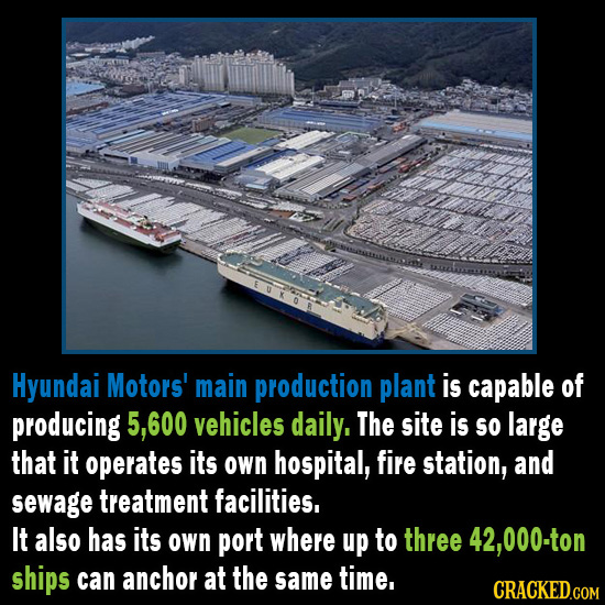 Hyundai Motors' main production plant is capable of producing 5,600 vehicles daily, The site is so large that it operates its own hospital, fire stati
