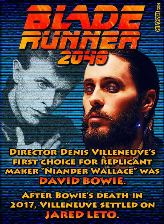 A Uiy ZUHiS DIRECTOR DENIS VILLENEUVE'S FIRST CHOICE FOR REPLICANT MAKER NIANDER WALLACE WAS DAVID BOWIE. AFTER BOWIE'S DEATH IN 2017, VILLENEUVE SE