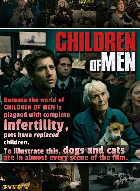 CHILDREN MEN OF Because the world of CHILDREN OF MEN is plagued with complete infertility, pets have replaced children. To illustrate this, dogs and c