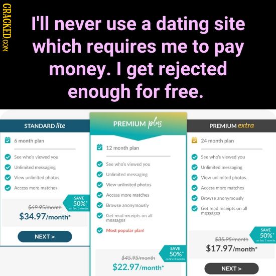 GDAMT I'll never use a dating site which requires me to pay money. I get rejected enough for free. plus lite PREMIUM STANDARD PREMIUM extra 6 month pl