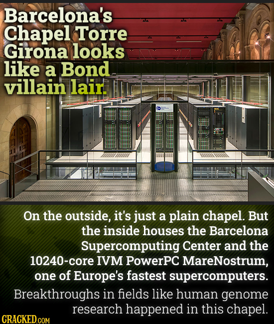 Barcelona's Chapel Torre Girona looks like a Bond villain lair On the outside, it's just a plain chapel. But the inside houses the Barcelona Supercomp