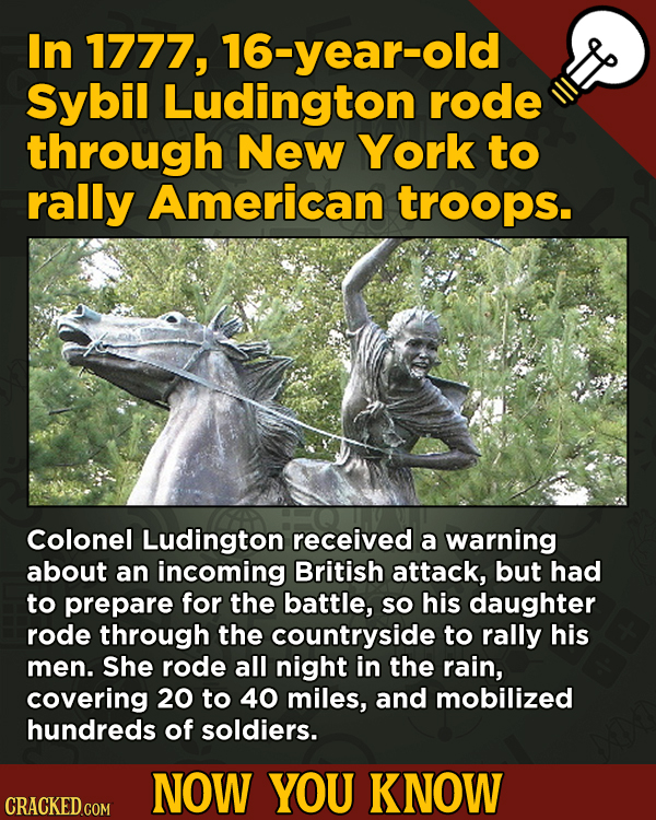13 Cool Things You Didn't Know About Movies (And Other Stuff) - In 1777, 16-year-old Sybil Ludington rode through New York to rally American troops.