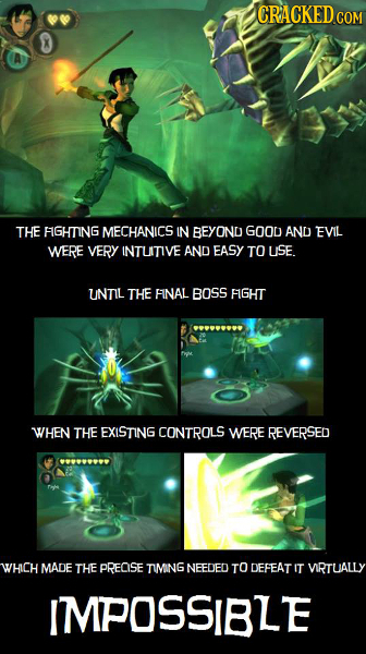 CRACKED COM THE FGHTING MECHANICS IN BEYOND GOOD AND EVIL WERE VERY INTUITIVE AND EASY TO USE. UNTIL THE FINAL BOSS FIGHT WHEN THE EXISTING CONTROLS W